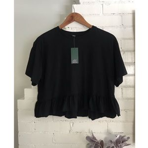 Wild Fable Black Cropped Ruffle NWT